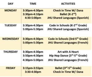 After-School Enrichment Program - spring 2021 schedule